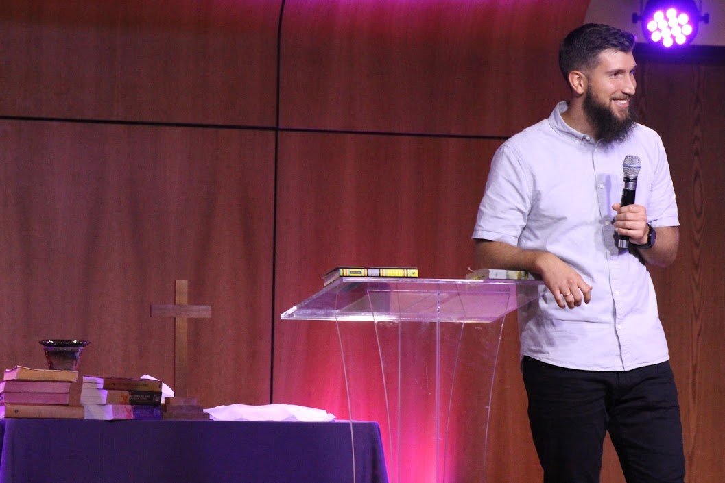 Preaching and a pastor. Casual. Word of God.